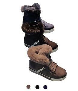 Damen Boots Sneakers Stiefelletten gefüttert Winterschuhe Stifell mit Fell Schuh