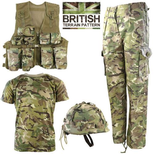 Combat Kids T-Shirt Trouser Assault Vest Helmet BTP Camo British Army Combo Set