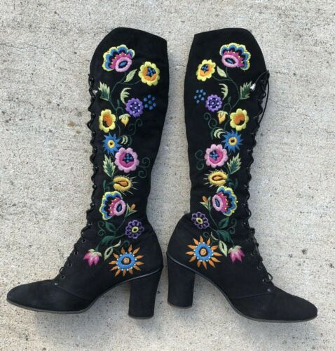 Vintage Jerry Edouard Boots Black Embroidered Bead