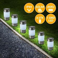 6er Set Edelstahl Solar Garten-Wege-Leuchten mit Erdpieß Steck-Licht