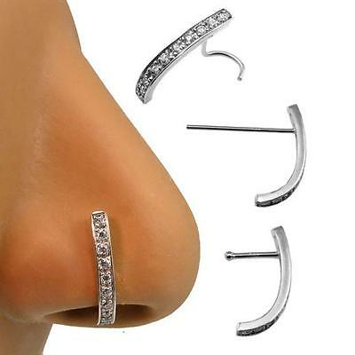 14k Solid White Gold Nose Ring Screw L Bend 10 Stone Curved Ring