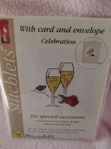 MOUSELOFT STITCHLETS CROSS STITCH KIT ~ CELEBRATION ~ CARD /& ENVELOPE ~ NEW