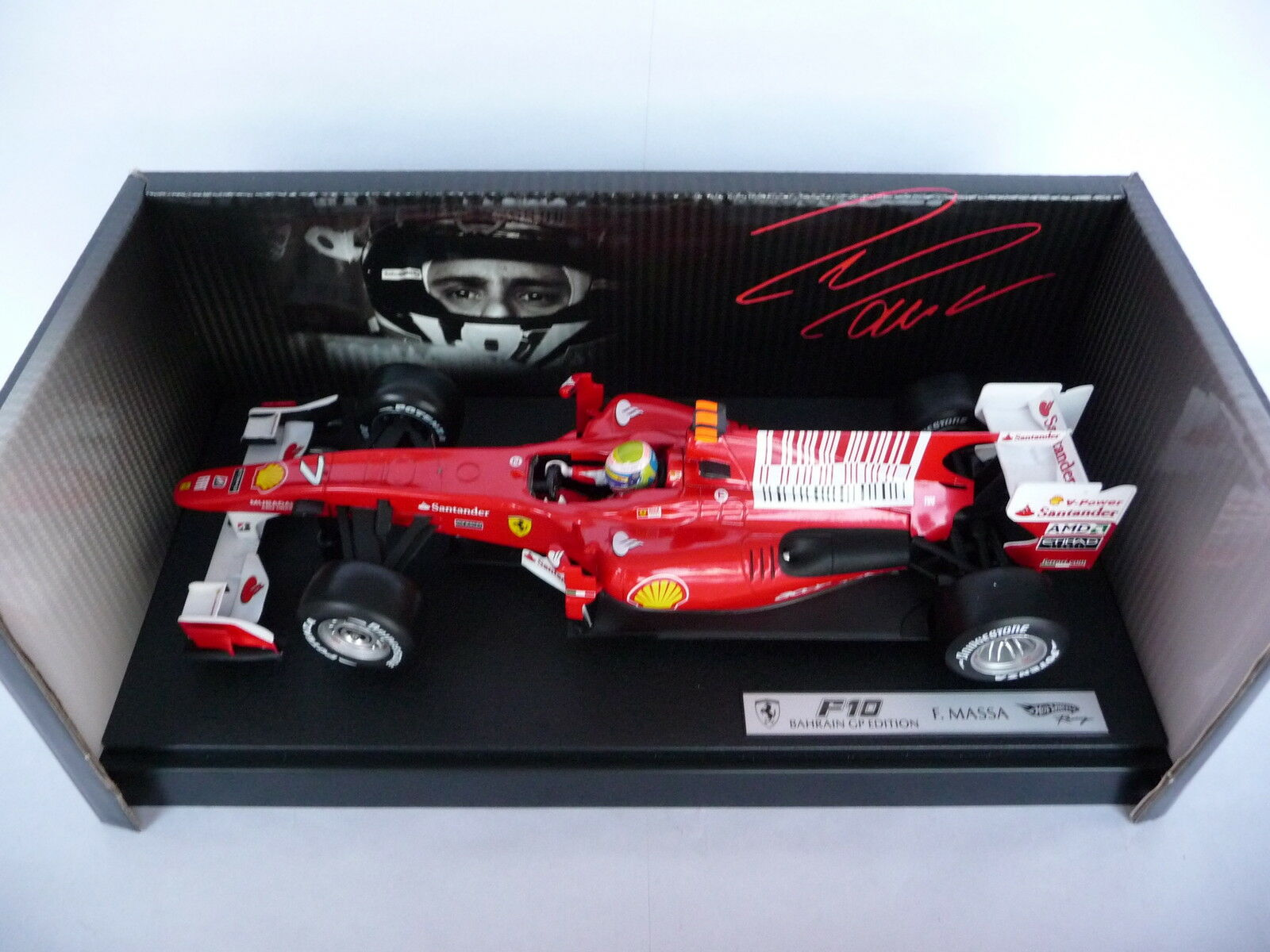 Hot Wheels 1 18 Ferrari F10 Bahrain GP 2010 2010 2010 Felipe Massa T6288 6d7a43