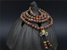 7mm Tibetan Buddhism 108 Gold-line Bodhi Mala Prayer Beads Necklace