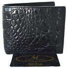 100% GENUINE CROCODILE SKIN MEN'S BIFOLD BACKBONE LEATHER BLACK WALLET
