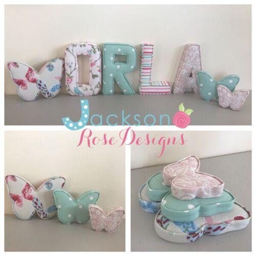 fabric letters Fabric butterflies Wall Art Wall Decor Handmade Nursery
