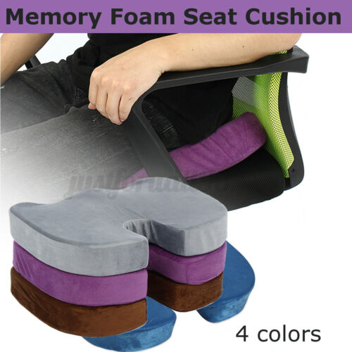 Memory Foam Chair Seat Cushion Office Lumbar Pain Relief Pillow Back Washable