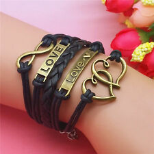 New fashion Jewelry Leather double love and heart black Bracelet