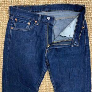 Levis-505-Jeans-Stretch-Da-Uomo-Regolari-Gamba-Dritta-W32-L30-Dark-Blue-chiusura-zip