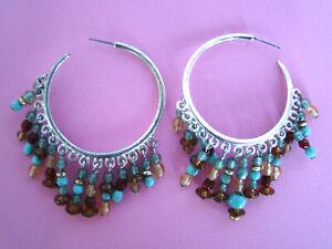 Image Is Loading Vintage Native American Style Hoop Earrings Beaded
