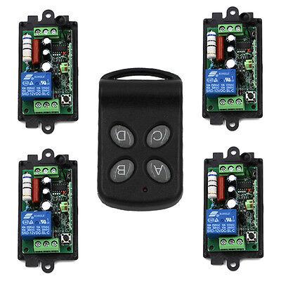 AC 1CH RF Wireless Remote Control Switch System 4CH Transmitter+4X Receiver 220v