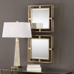 "Modern Allick 18"" Gold Square Mirrors Wall Art Decor ~ Set ..."