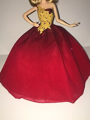 DRESS  MATTEL BARBIE DOLL RED SILVER  HOLIDAY MODEL MUSE EVENING GOWN CLOTHING