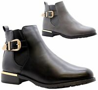 Ladies Women Flat Block Heels Chelsea Ankle Buckle Strap Casual Boots Shoes Size