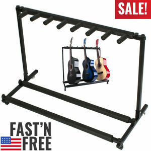 Multi-Guitar-Stand-7-Holder-Folding-Organizer-Rack-Stage-Bass-Acoustic-Electric