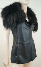 PRADA Black Leather Mink & Raccoon Fur Sleeveless Gilet Jacket Sz:42 UK10
