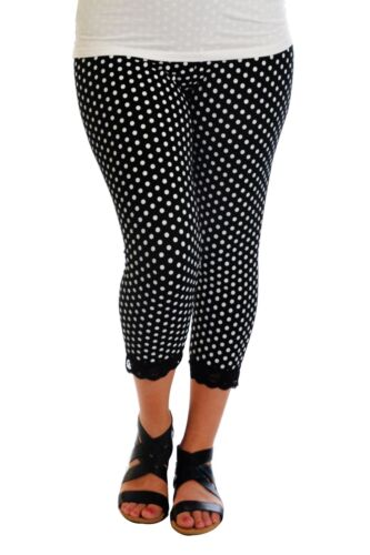 New Womens Leggings Plus Size Ladies Polka Dot Lace Trim Cuff Trousers Nouvelle