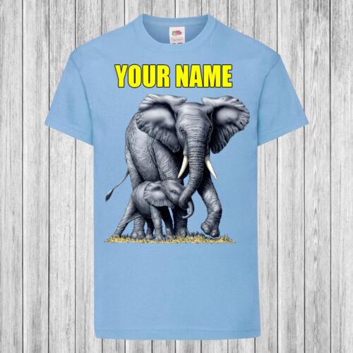 Elefante Con Bebé-Niños//Niños T-Shirt Dtg-personalizada con nombre