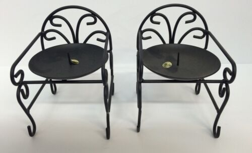 24 Wrought Iron Chair Candle Holder Black Wholesale New 4wide 4deep 5 Tall