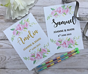 Personalised-Children-039-s-Wedding-Activity-Pack-Bag-Favour-A6-Flowers