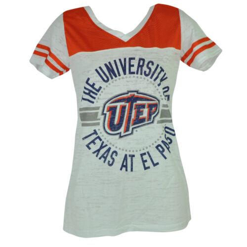 Ncaa Utep Texas El Paso Miners V-ausschnitt Damen T-shirt Rosa Weiß Orange Baseball & Softball
