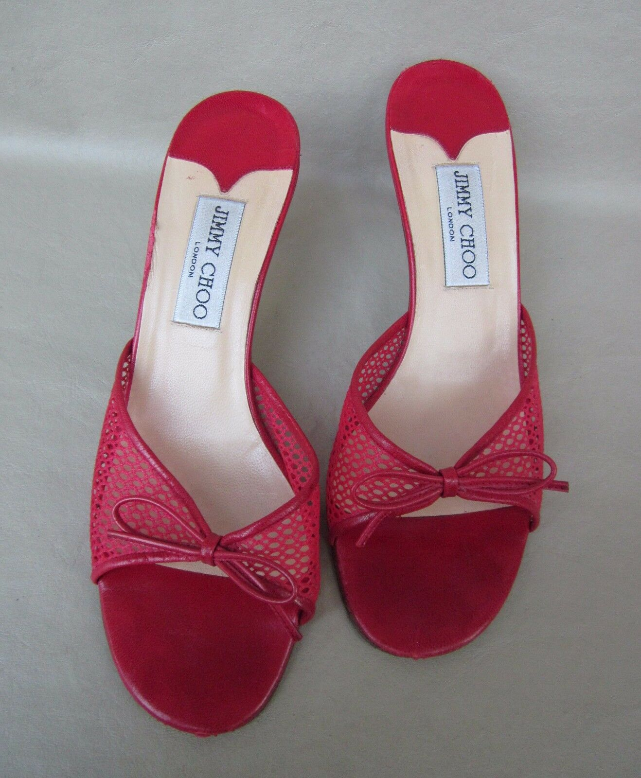 JIMMY CHOO Kitten Heel Slides/Shoes Rosso Mesh Bow Detail Euro 38 M/US 6.5 M Nice!