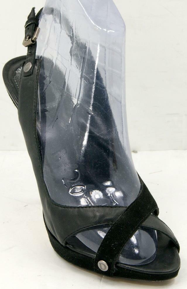 Christian Dior Black Leather/Suede Peep Toe Sling Back Womens Sandals 38.5/8.5 M