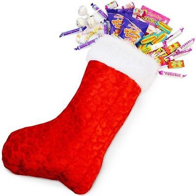 Christmas Stocking Santa Father Sack Red Fluffy Bag Gift Presents Xmas Accessory