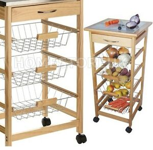 Superbe Image Is Loading CERAMIC WORKTOP WHEELED STORAGE  TROLLEY FRUIT VEGETABLE BASKETS