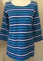 Hatley Deck Blue Aqua White Stripe Top Back Zipper Sz S