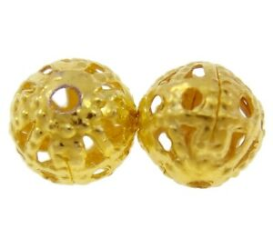 100-Metallperlen-8mm-Rund-Gold-Filigran-Perlen-Zwischenteile-Spacer-M539