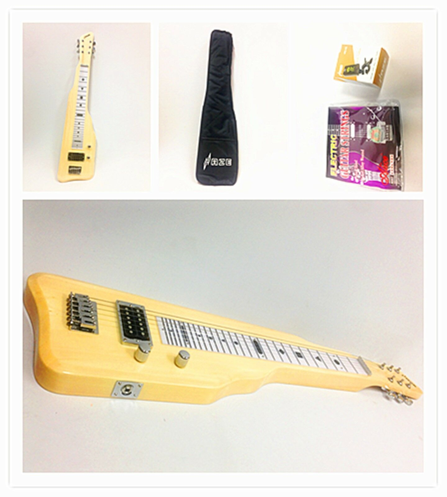 6 String Solid Poplar Body Electric LAP Steel Guitar,Natural Haze 217N