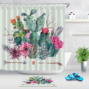 Image Is Loading Boho Nature Cactus Shower Curtain Set Bathroom Extra