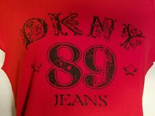 DKNY womens red t shirt large jeans 89 short sleeve EUC