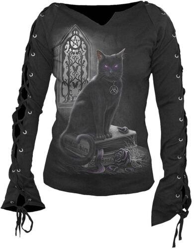 CROIX black cat rock Spiral Direct Sorcière CAT lacets Manche goth teetop DARKWEAR