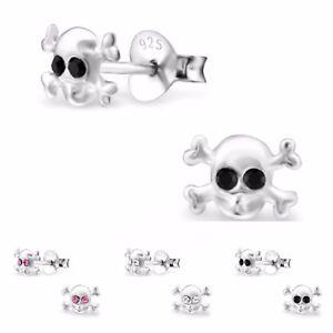 925-Sterling-Silver-Crystal-Skull-Stud-Earrings-Girls-Ladies-Gift-Boxed