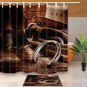Image Is Loading Cowboy And Horseshoe Bathroom Shower Curtain Waterproof Fabric