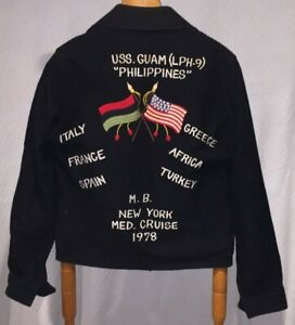 VINTAGE-1978-USMC-USS-Guam-LPH-9-Philippines-Cruise-Zip-Up-Black-Bomber-Jacket