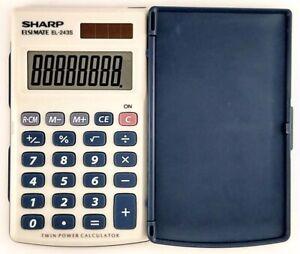 Vintage SHARP ELSI MATE EL-243S Hard Case Twin Power Calculator - Working Nice!