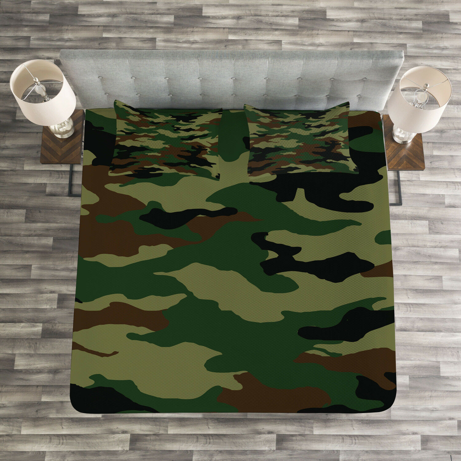 Camo Quilted Bedspread & Pillow Shams Set, Uniform Inspired Fashion Print