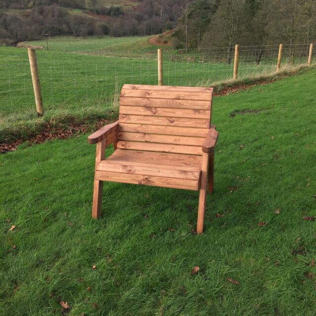 Hand Made Traditional Chunky Rustic Wooden Garden Extra Wide Chair Furniture