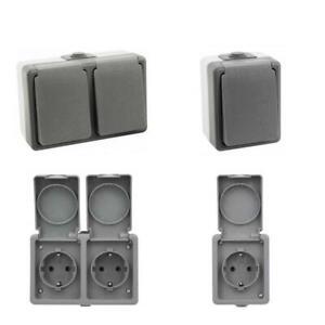 Doppelstekdose-Feuchtraum-Steckdose-Aufputz-Schuko-IP44-FR-Wechselschalter-aussen