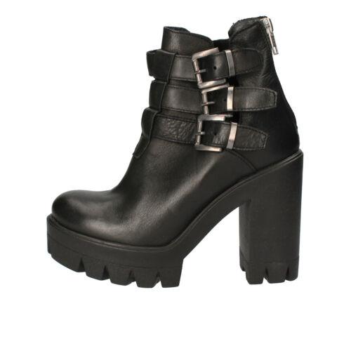 Schwarz 38 Ae920 Stiefeletten Damen c Schuhe Eu Crown Leder wvxAwPfCq