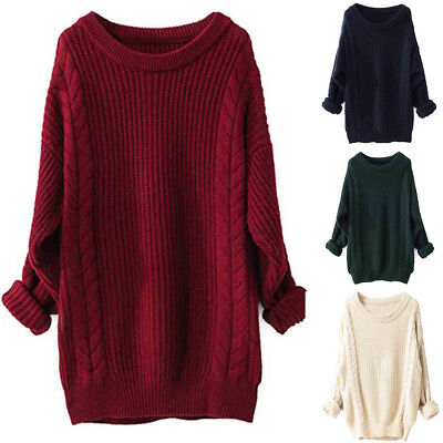 New Womens Ladies Baggy Long Sleeve Chunky Knit Oversized Loose Jumper Top 8-14