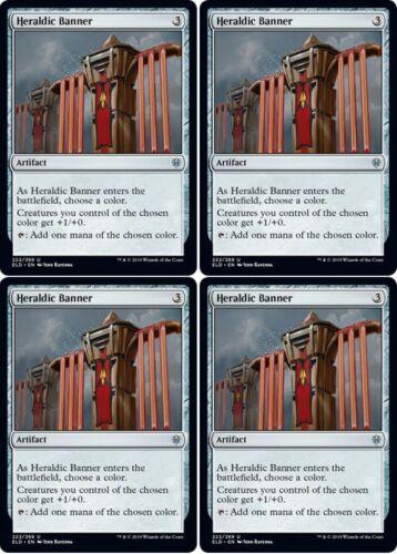 4x HERALDIC BANNER Throne of Eldraine MTG Artifact Unc