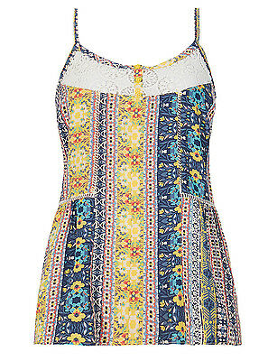 M&S size 10 and 12 Camisole Vest Top Pretty Crochet Lace Patchwork Blue Yellow