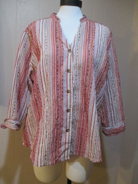 Blouse Alfred Dunner Ladies Size 14 Button Front Striped Red White Brown Long Sl