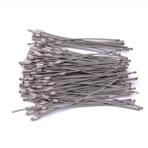 """100Pcs 6/"""" Stainless Steel Wire Cable Key Chain Ring Bulk hanging Camping luggage"""