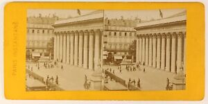 Parigi La Bourse Francia Foto Stereo PL55L4n Vintage Albumina c1878