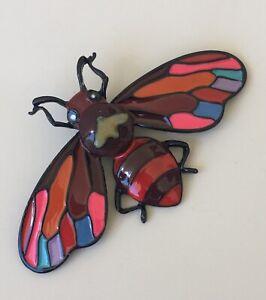 Unique-large-Bee-Brooch-pin-enamel-on-Metal